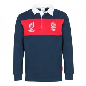 Rugby World Cup 2019 EnglandPanel Long Sleeved Rugby Shirt - Navy/Red - Mens