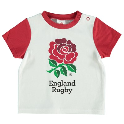 England Rose Print T-Shirt - White/Red - Baby