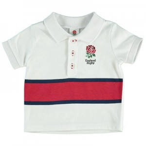 England Rose Print Panel Stripe Polo - White/Red - Baby