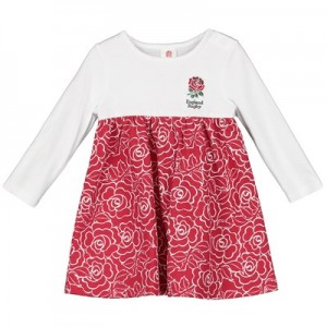 England Empire Line Rose Print Dress - White/Red - Baby