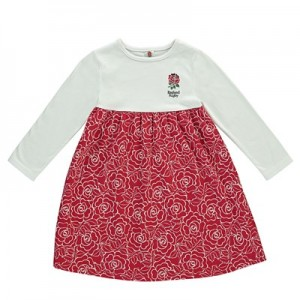 England Empire Line Rose Print Dress - White/Red - Infant