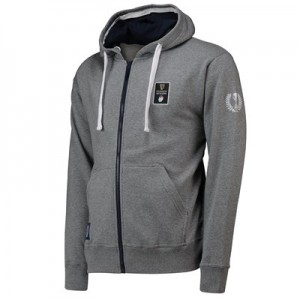Guinness 6 Nations 19 Full Zip Hoodie - Grey Marl - Mens