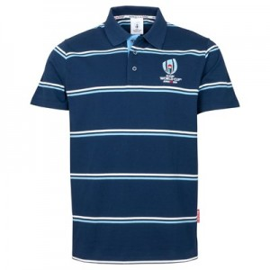 Rugby World Cup Stripe Shirt Polo - Navy with Blue/White - Mens