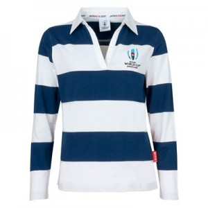 Rugby World Cup Block Stripe Long Sleeve Polo - Navy/White - Womens