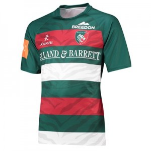 Leicester Tigers Home Replica Shirt 2018/19 - Green/Red/White - Mens