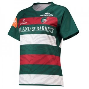Leicester Tigers Home Replica Shirt 2018/19 - Green/Red/White - Womens