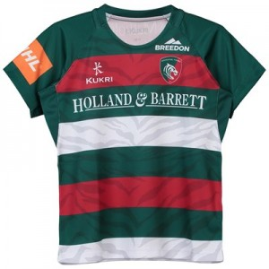 Leicester Tigers Home Replica Shirt 2018/19 - Green/Red/White - Junior