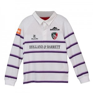 Leicester Tigers Alternate Classic Shirt Long Sleeve 2018/19 - White/Purple - Junior